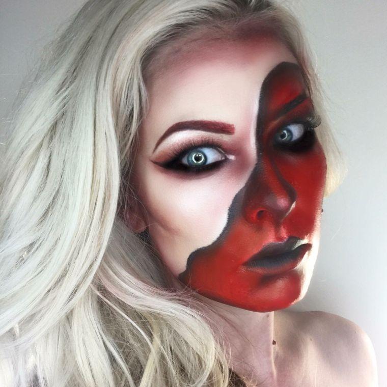 maquillage sur la moitié du visage