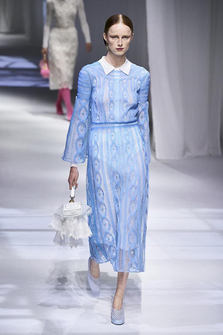 robe longue simple droite bleue