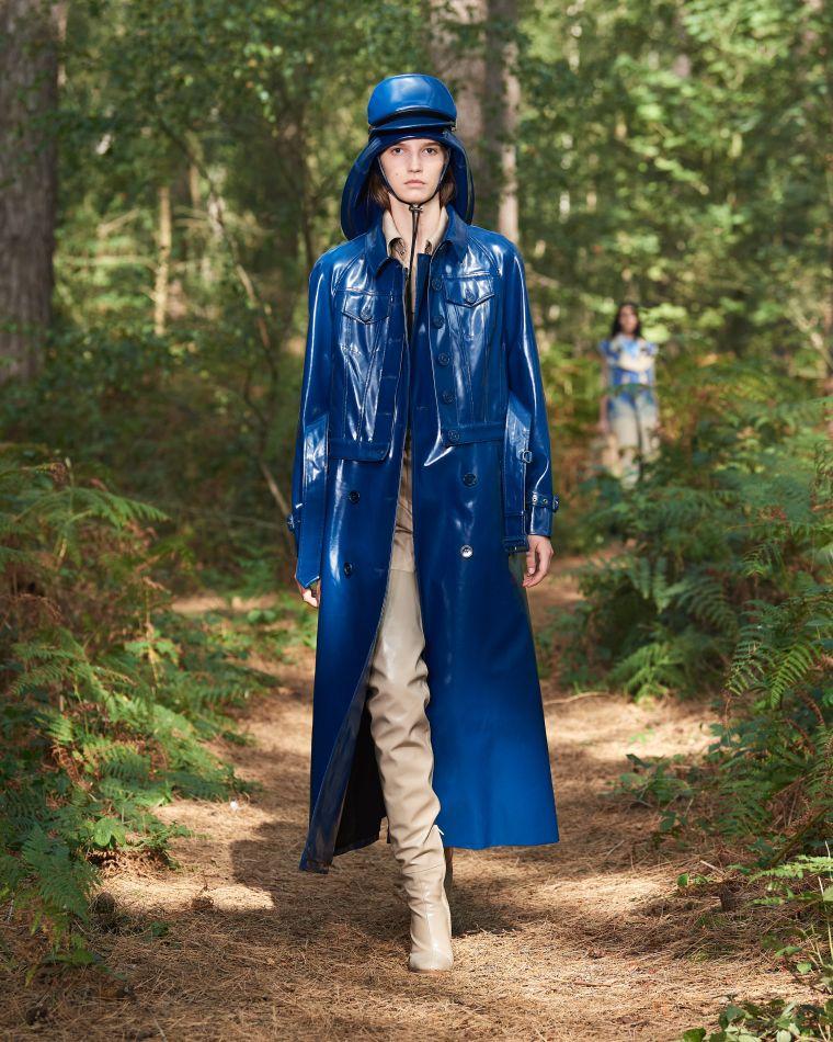 trench coat long en bleu