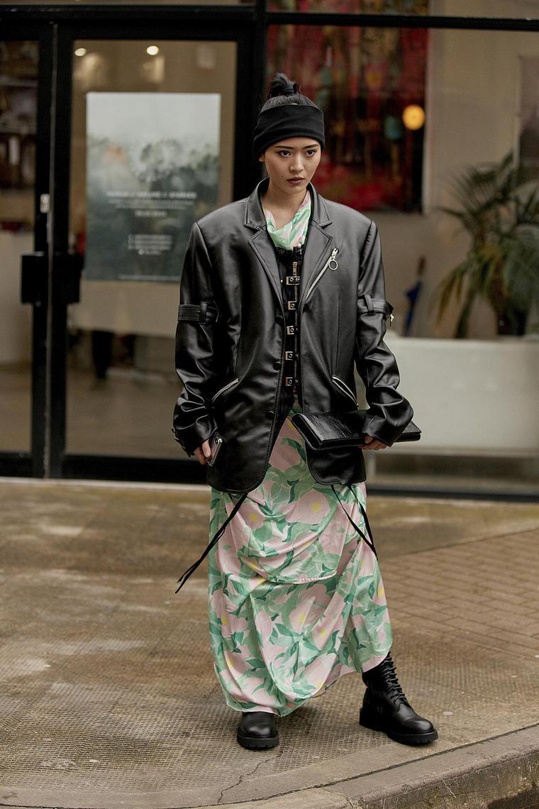leather jacket skirt flowers