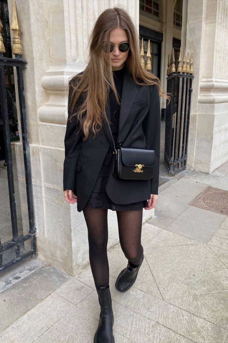 petite robe noire chic avec blazer