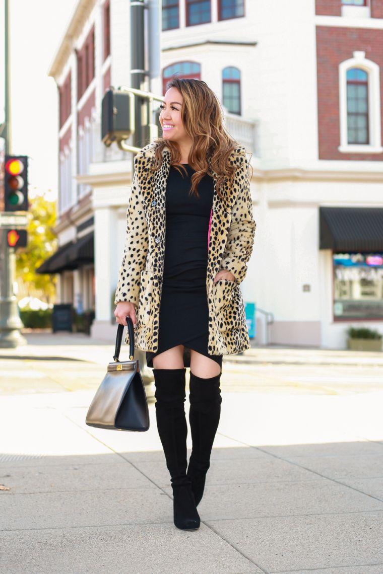 robe noire avec bottes hautes