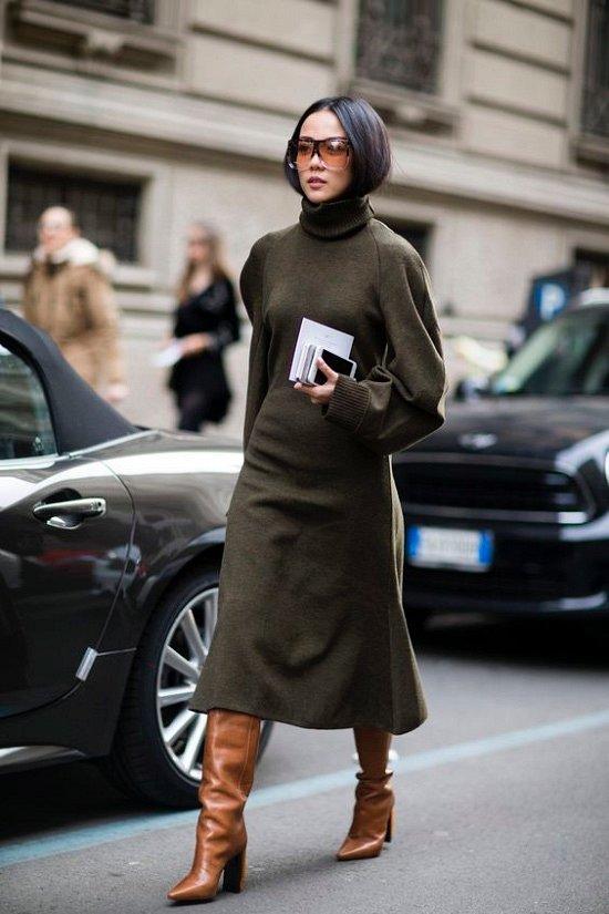 Sweater dress: top-25 best photos # 4