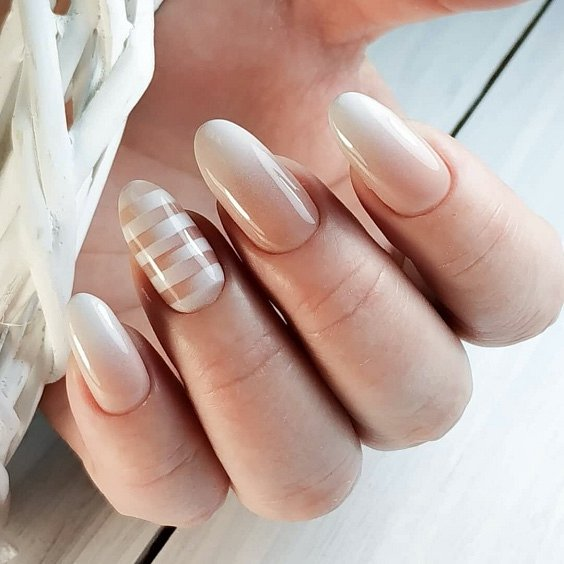 Milk manicure - a fashion trend from Instagram photo # 24