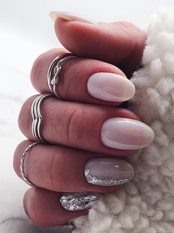 Milk manicure - a fashion trend from Instagram photo # 25