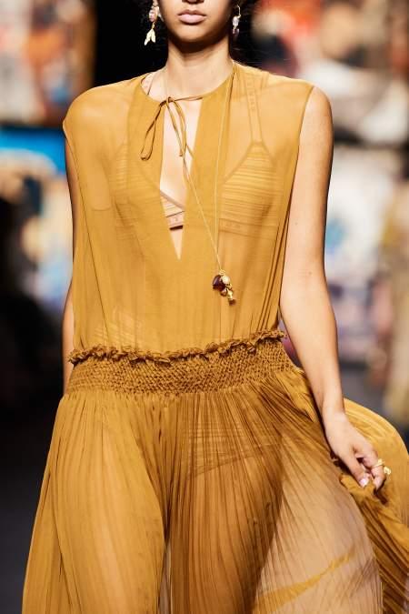 Dior Beige Sheer Chiffon Dress