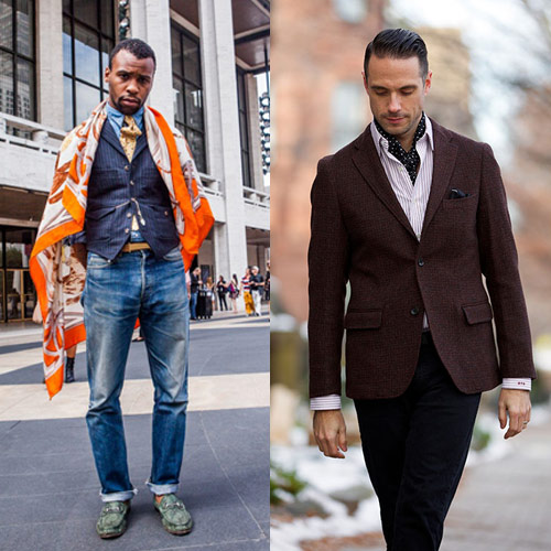 A scarf as an accessory for a man's image