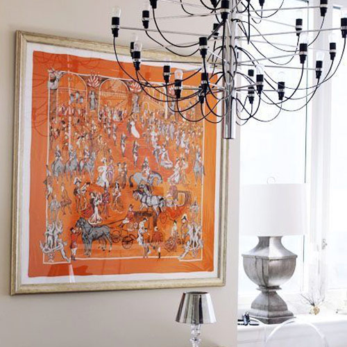 Hermès scarf as a decorative element of the interior