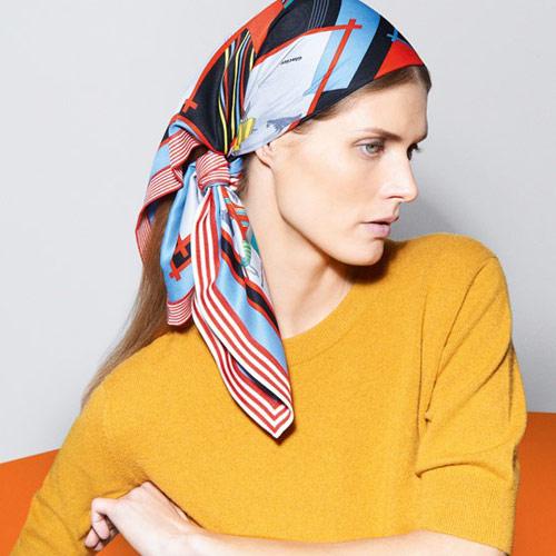 Hermes scarf as a head scarf