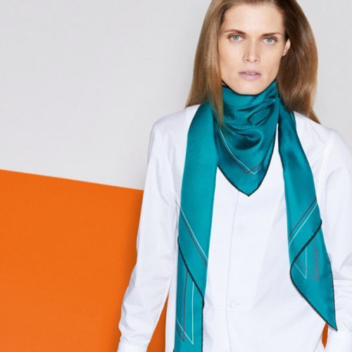 Hermès silk scarf in turquoise
