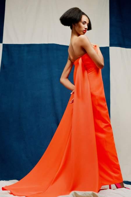Christopher John Rogers Orange Floor-Length Dress
