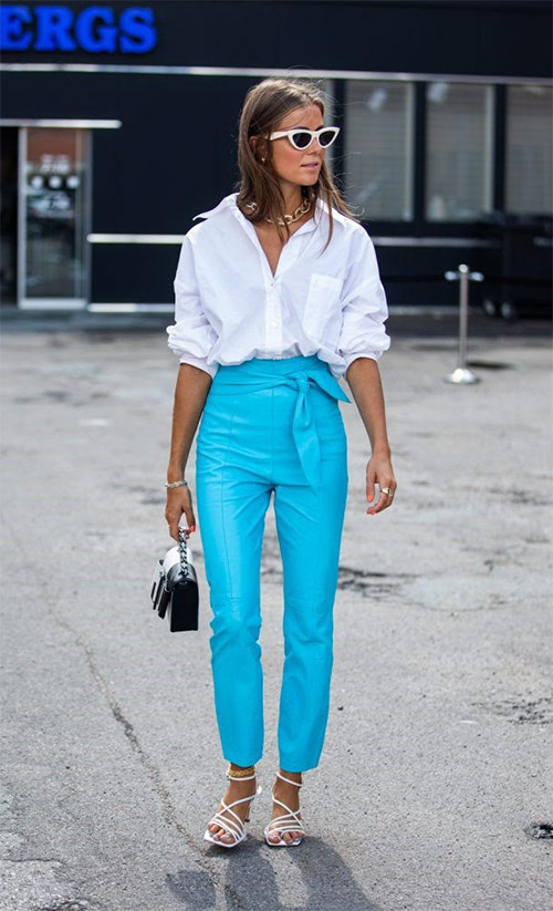 White shirt and sandals, bright blue pants