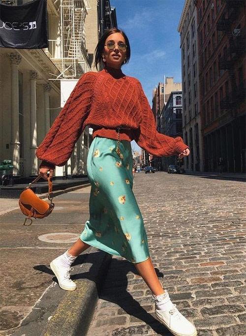 Silk skirt + wool sweater