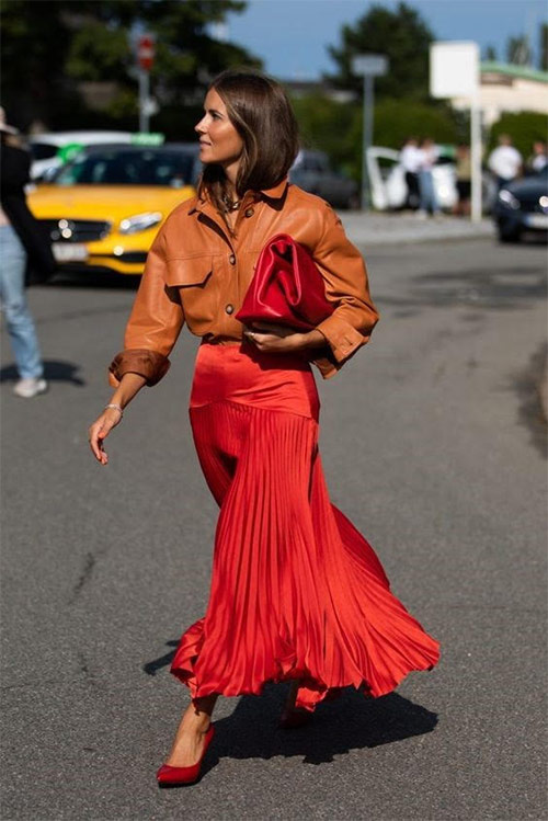 Silk pleated skirt and eco-leather shirt
