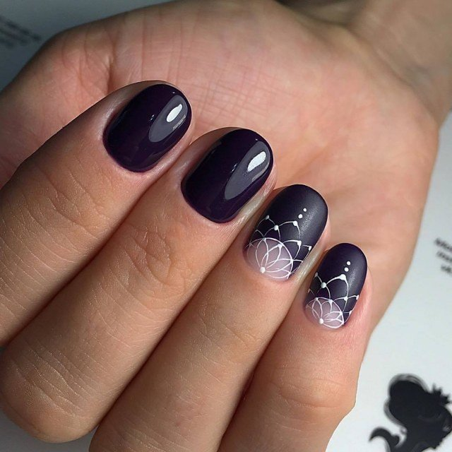 black nails with decor