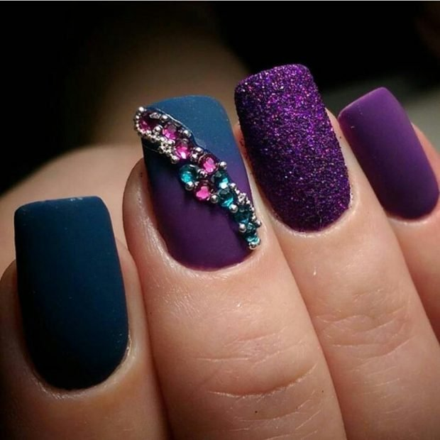 purple with stones