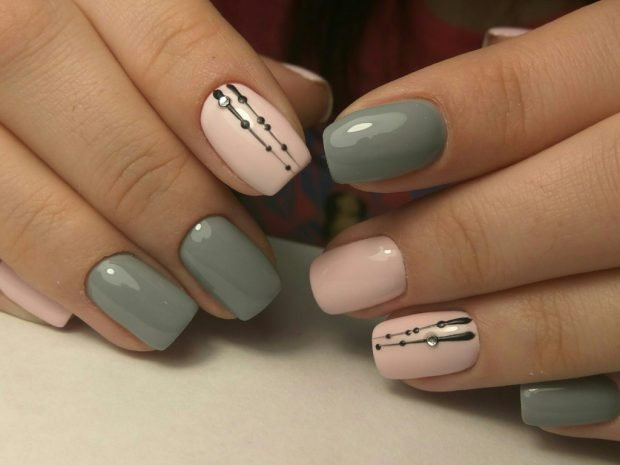 two-tone manicure with a pattern