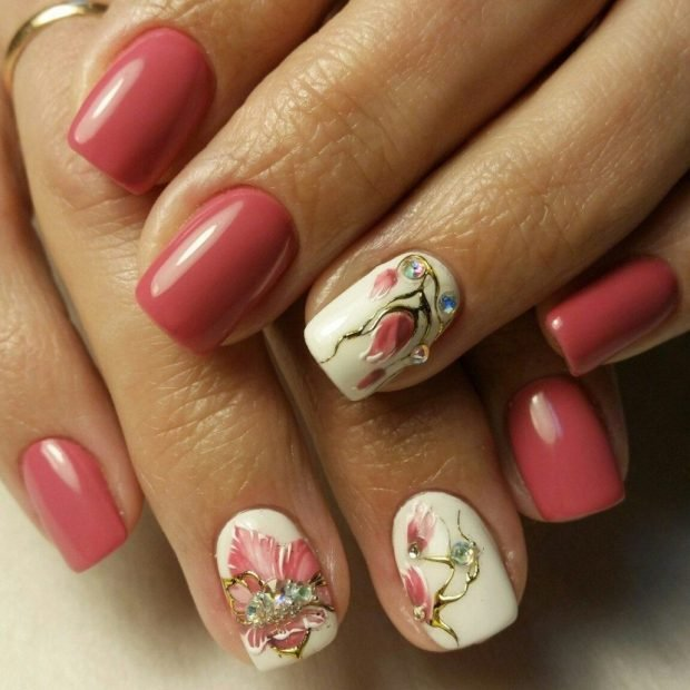 two-tone manicure with decor