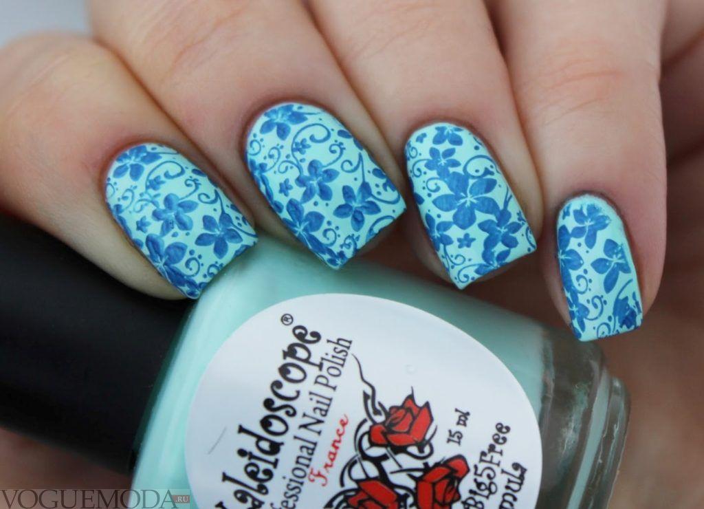 blue floral stamping