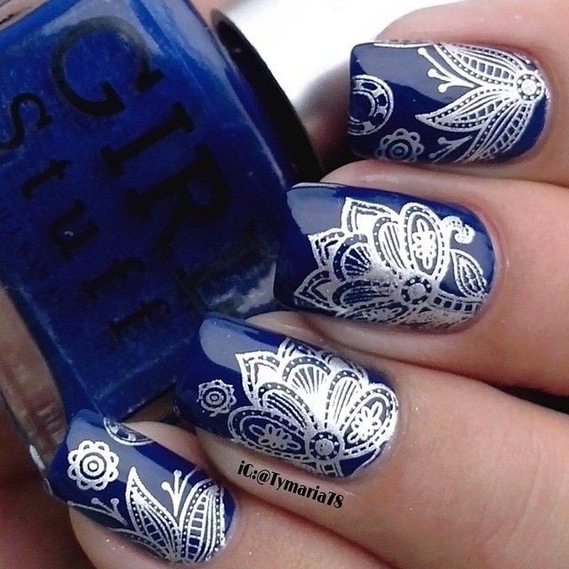 blue stamping with pattern