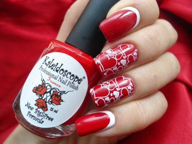 red stamping with pattern