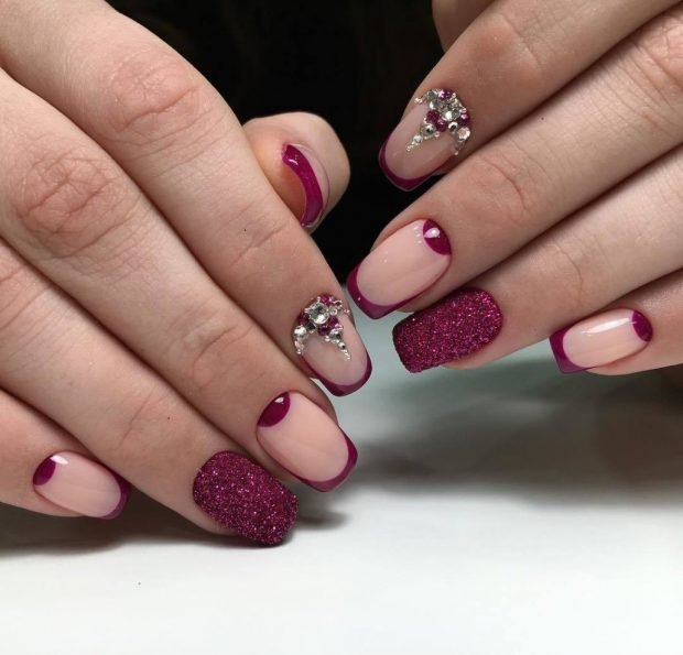 burgundy manicure with decor