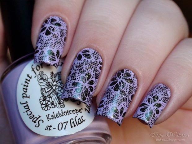 lilac nails with black lace