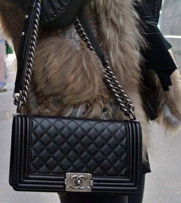 black quilted bag with chain