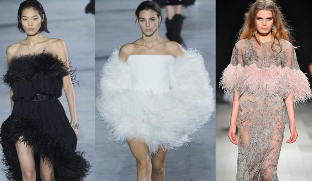 fashion trends dresses with feathers