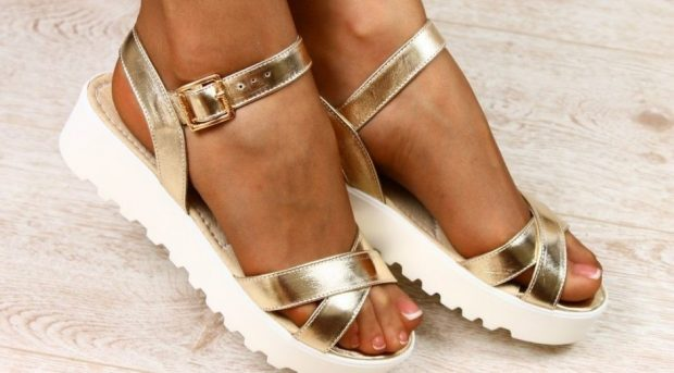 gold tractor-sole sandals