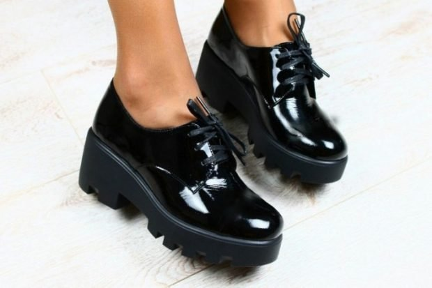 black patent leather tractor-soled shoes