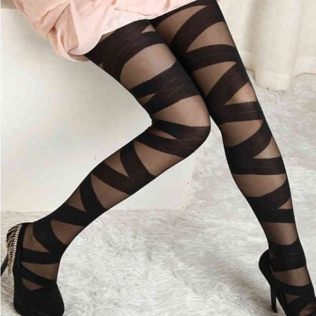 black tights with thick ribbons