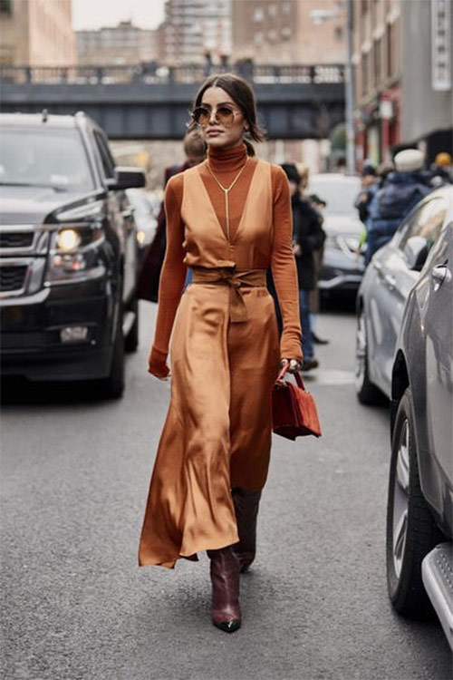 Silk and knitwear in one look