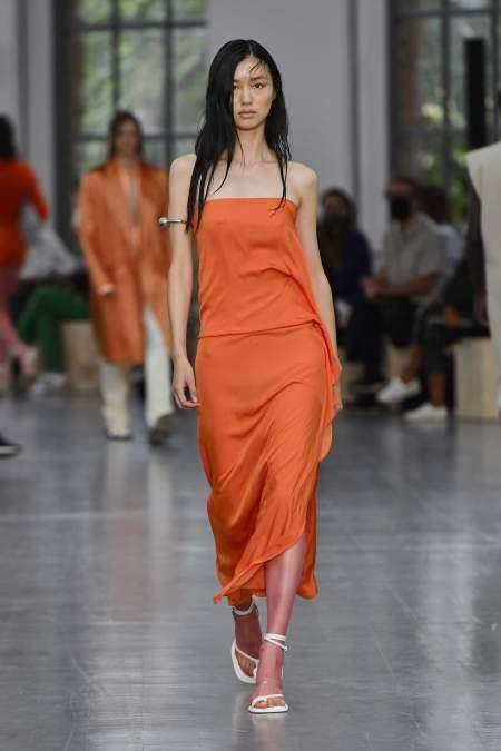 Rust-colored long dress