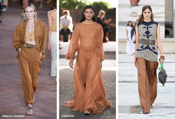Fashionable clothes in macchiato color
