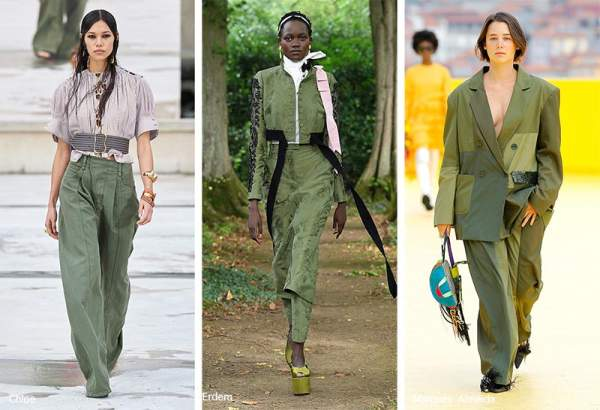 Deep saturated green color in clothes