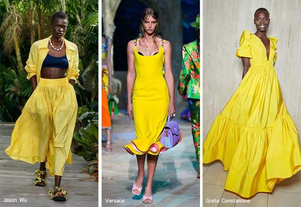 Rich yellow color in the collections of Jason Wu, Versace, Greta Constantine