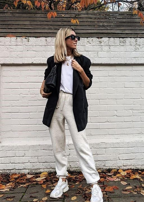 Mix of styles: tracksuit combined with a jacket