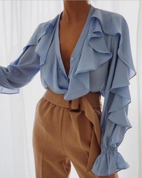 Chiffon blouses with ruffles and ruffles are in fashion next summer