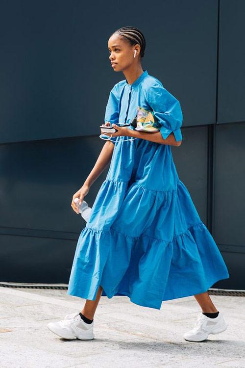Blue ruffle dress on urban fashionista