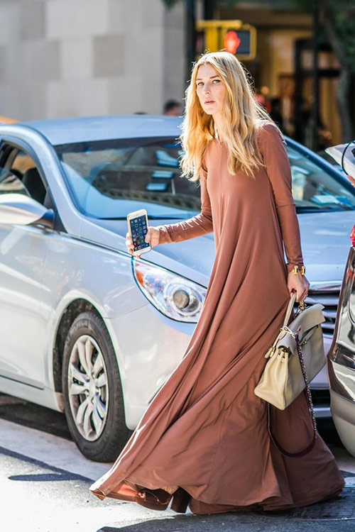New for summer 2021: maxi dress in coffee with milk