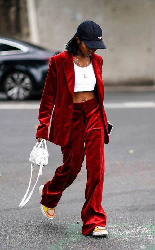White Crop Top and Velvet Suit for Urban Fashionista