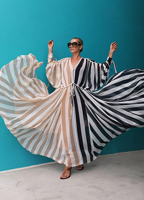 Chiffon dress with contrasting stripes