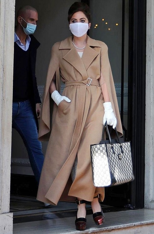 Lady Gaga wearing Max Mara fashion coat in Rome 2021