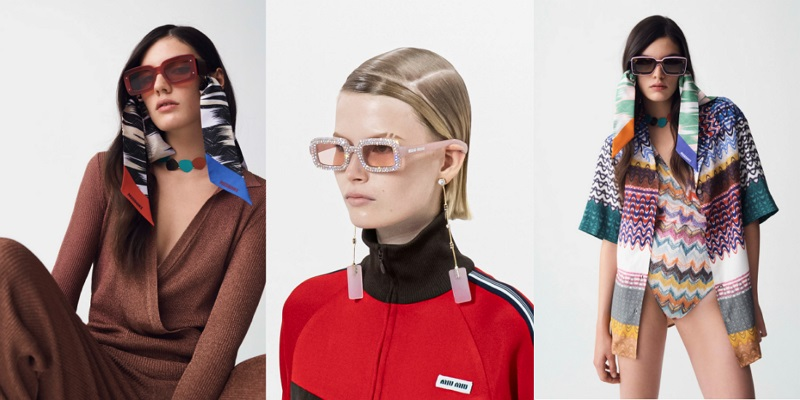 fashionable glasses with rhinestones and scarves spring-summer 2021