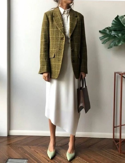 Dress combined with a jacket for work