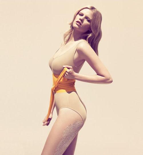 beige one piece swimsuit