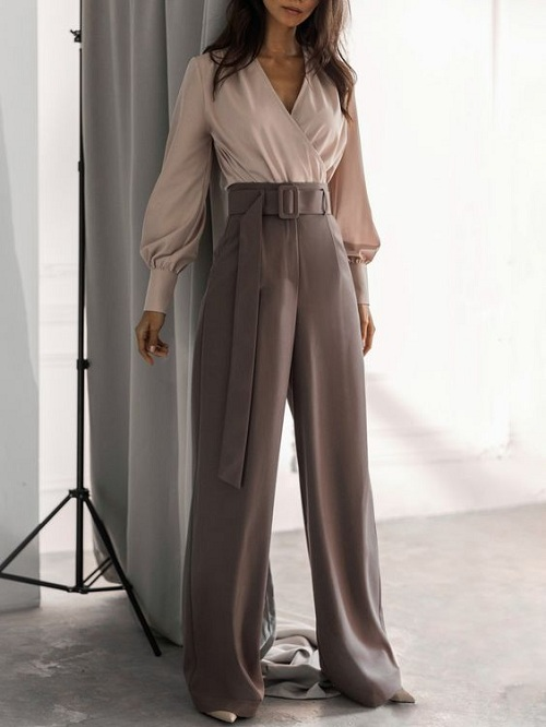 Palazzo pants paired with a blouse