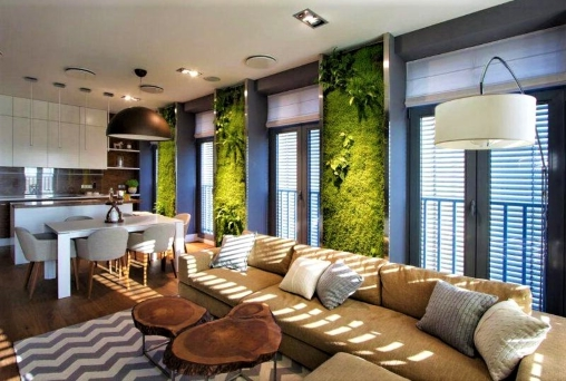 Eco-style apartment: wallpaper with tropical vegetation