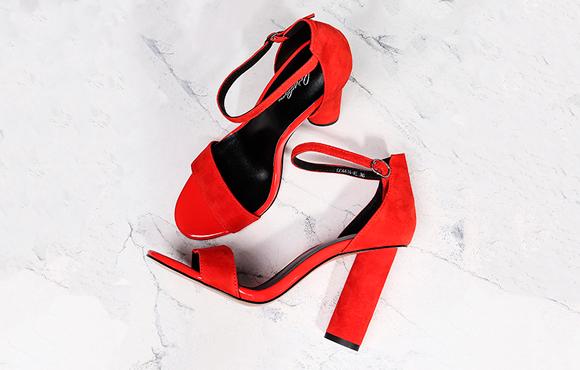 Respect red round heel sandals
